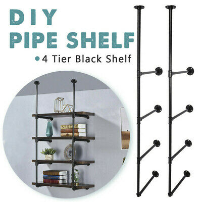 4Tier Vintage Retro Industrial Iron Pipe Shelf Bracket Wall Floating Shelves DIY