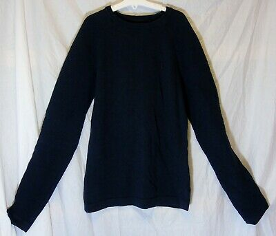 Boys Next Plain Dark Blue Textured Thin Knit Warm Jumper Age 12 Years