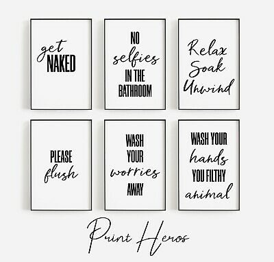 Bathroom Prints Black and White Funny Bathroom Wall Art Pictures *OFFER 3 for 2