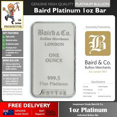 1oz Platinum Bullion Bar | Baird & Co Mint - London | 99.95% | investment grade!