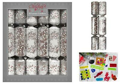 12 Pack Luxury Xmas Crackers Silver & Red Christmas Berries Design
