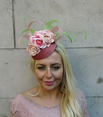 Dusky Blush Pink Light Green Flower Feather Hat Hair Fascinator Wedding 7751