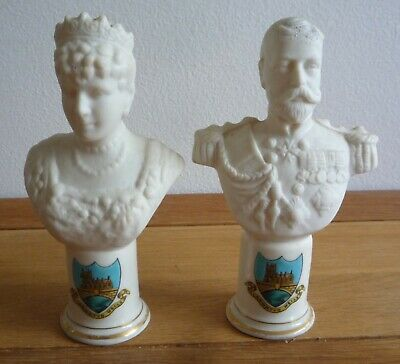 King George V & Mary 1911 Coronation Busts llanwrtyd wells Arcadian Crested
