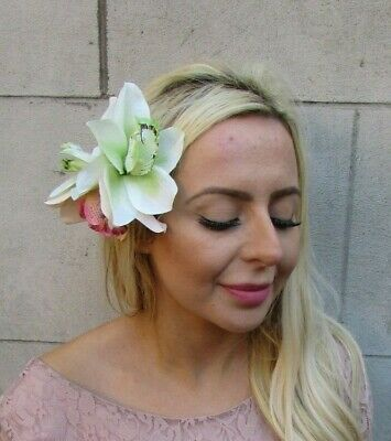 Large Triple Blush Light Pink Green Orchid Flower Hair Clip Fascinator 50s 7753