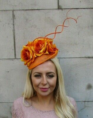 Orange Rose Flower Feather Disc Saucer Hat Fascinator Races Wedding Sinamay 7755