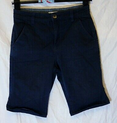 Boys Debenhams Blue Chino Denim Adjustable Waist Long Board Shorts Age 12 Years