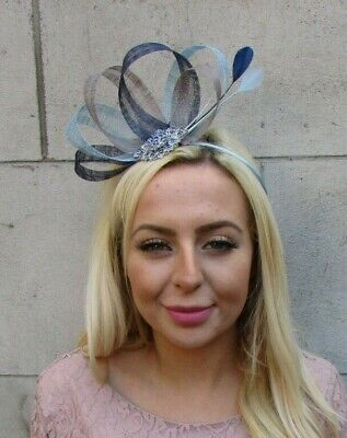 Navy Light Blue Grey Silver Feather Hair Fascinator Sinamay Wedding Races 7758