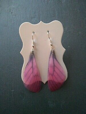 Pink Blue Ombre Faerie Wings Earrings Silver Plated Ear Wires Fairy Fantasy Fae