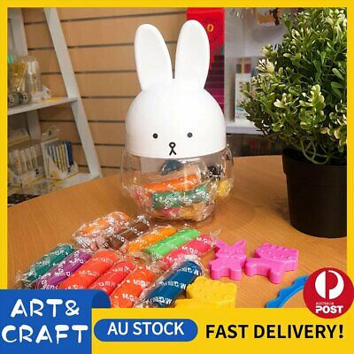 Rabbit Air Dry Clay Modeling Clay 24 Colour Pack DIY Craft Gift Soft Light Clay