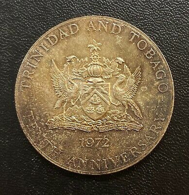 WORLD Coin 1974 Trinidad & Tobago 10 Dollars - Silver gorgeous Toning