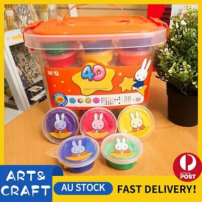 4D Portable Air Dry Clay Modeling Clay 36 Colour Pack DIY Craft Gift Soft Light