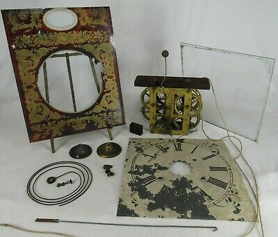 ANTIQUE ANSONIA OGEE CLOCK MOVEMENT TIME STRIKE WITH HANDS GONG parts lot