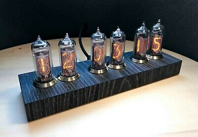 Nixie Clock Vintage style on IN-14 nixies made in USSR 20th century Black Oak