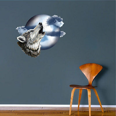 Howl At The Moon Wolf Decal Howling Night Sky Wildlife Animal Art Vinyl, b92
