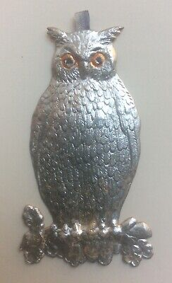 Dresden Owl Silver Christmas Halloween  Antique German 1900's Ornament  Vintage