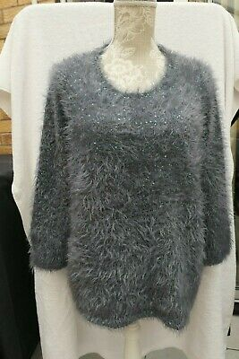 New M/&S Collection Silver Grey Sequin Floral Fluffy Furry Jumper Sz UK  12