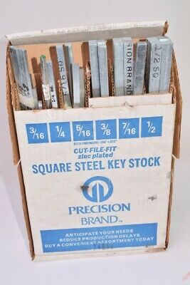 Precision Brand Cut File Fit Square Steel Key Stock Set, 3/16'' x 1/2''