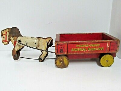 Vintage Fisher-Price Horse Drawn Wooden Wagon GENERAL HAULING No. 733 USA 1941