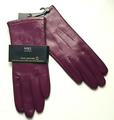 M&S Ladies Fine Leather Gloves Magenta Pink BNWT Marks Size SMALL