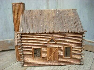 "Antique Vintage Primitive Folk Art Miniature Log Cabin AAFA 12"" x 9"" x 11"""