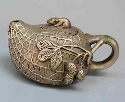 Collection China Handwork Miao Silver Carved Rat Rare Peanut Shape Teapot Statue