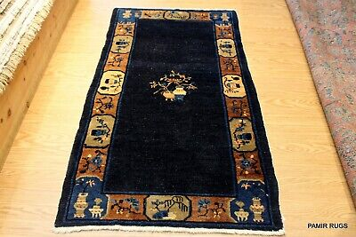 ON SALE ANTIQUE Chinese ORIENTAL 3x6 ft. PEKING BLUE, NAVY GOLD ART DECO Rug