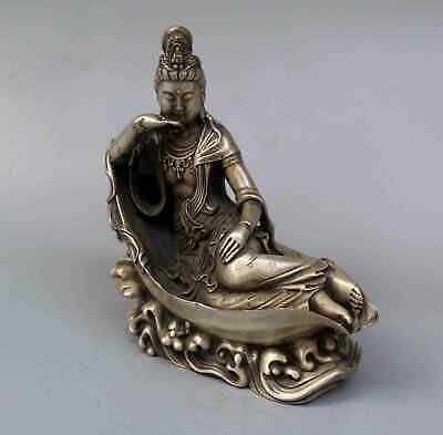 Collection Qianlong Years Handwork Miao Silver Carved Wave Kwan-yin Lucky Statue