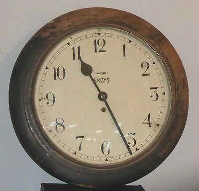 """Smiths 8-day floating balance circular school wall clock, 13"""", spares or repairs"""