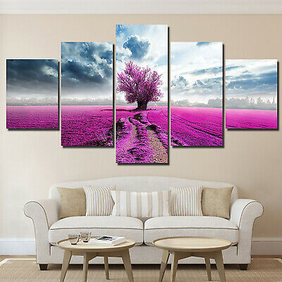 5Pcs Purple Tree Abstract Home Wall Decor Mural Oil Art Hanging Canvas Painting