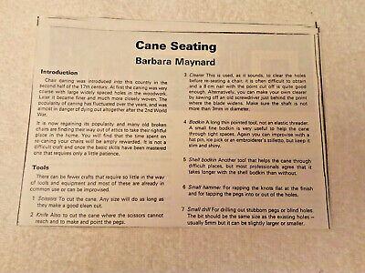 VINTAGE 1960s DRYAD LEAFLET 165 CANE SEATING 15pp BOUGHT AS A PHOTOCOPY, MAYNARD