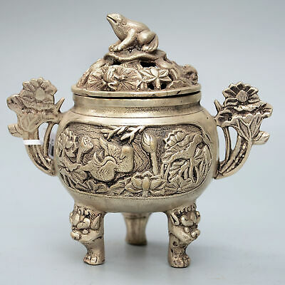 Qianlong Years Collection China Miao Silver Handwork Carved Frog Incense Burner