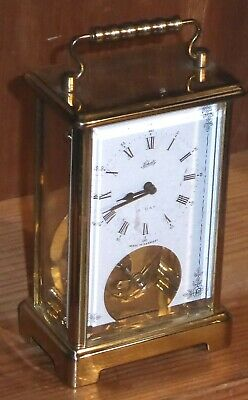 "Lovely vintage Schatz 8-day brass and glass carriage clock, 5""x3""x2"", GWO"