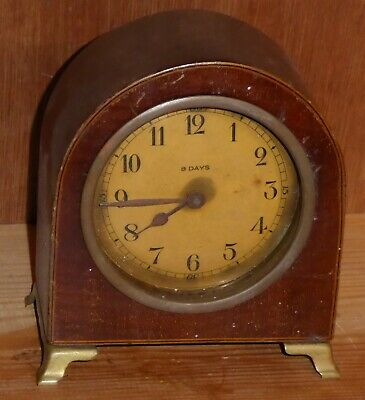 Antique Junghans (?) 8 day mantel clock, brass barrel movement in wood case, GWO