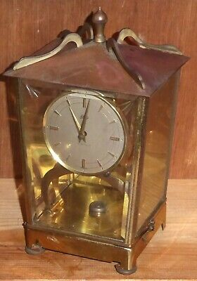 Vintage Schatz electro-magnetic skeleton clock, brass and glass, PARTS MISSING