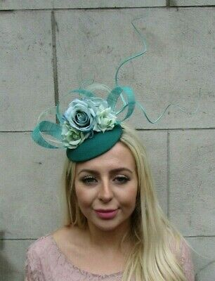 Turquoise Mint Green Jade Rose Flower Feather Pillbox Hat Hair Fascinator 7794