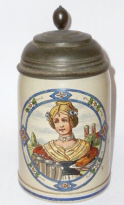 Old Beer Stein Jug Stone Serving Wench Art Nouveau Signed Ts