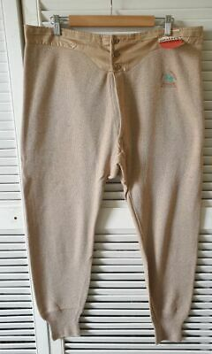 Vintage Long Johns French knitted cotton 1940s Winter wear fishtail cinch NOS #2