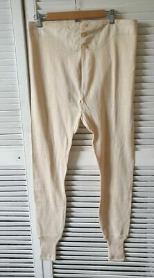 Vintage Long Johns French knitted cotton 1940s Winter wear fishtail cinch NOS #3