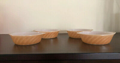 Vintage Anchor Hocking Fire King Peach Lustre Mini Casserole Dish, Set Of 4