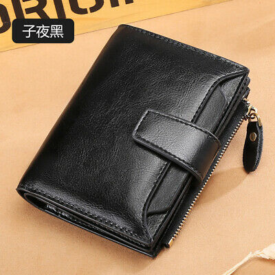 QR Lady Womens Genuine Leather Bifold Wallet Credit Card Zipper Coin Purse