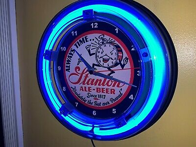 Stanton Ale Beer Bar Man Cave Advertising Blue Neon Wall Clock Sign