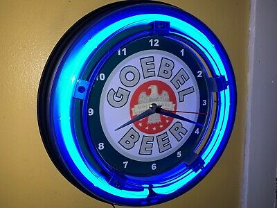 Goebel Beer Bar Man Cave Advertising Blue Neon Wall Clock Sign