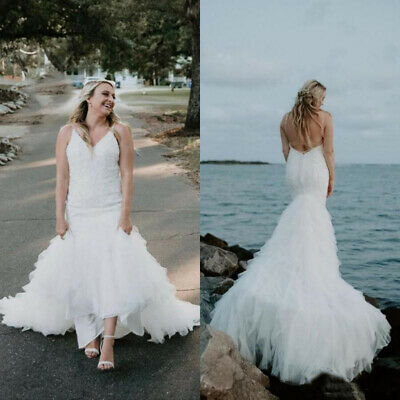 Beach Mermaid Wedding Dresses Spaghetti Straps Backless Lace Tiered Bridal Gown