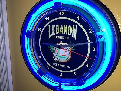 Lebanon Pennsylvania Beer Bar Man Cave Advertising Blue Neon Wall Clock Sign