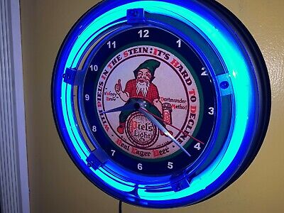 Piel's Light Gnome Beer Bar Man Cave Advertising Blue Neon Wall Clock Sign