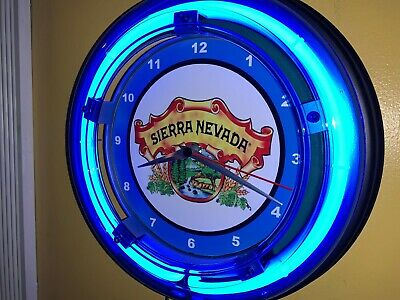 Sierra Nevada Beer Bar Man Cave Advertising Blue Neon Wall Clock Sign