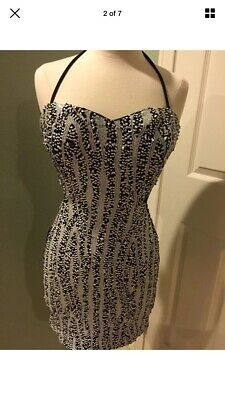 Bebe Sequins Black & White Side Cut Out Tube Dress NWT Size Large