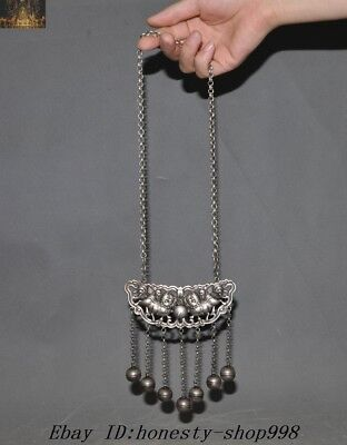 """15"""" Collect Old Chinese Tibetan Silver Foo Dog Lion Safety lock amulet necklace"""