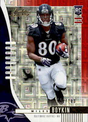 Miles Boykin # 129 2019 Absolute Football Red Spectrum Parallel #'d/99