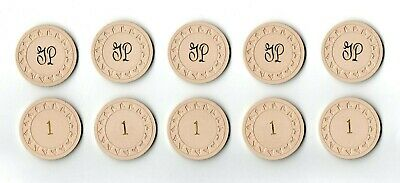 (10)Vintage 1940's 50's GULFSTREAM PARK White $1 Casino Blackjack Poker Chip Lot
